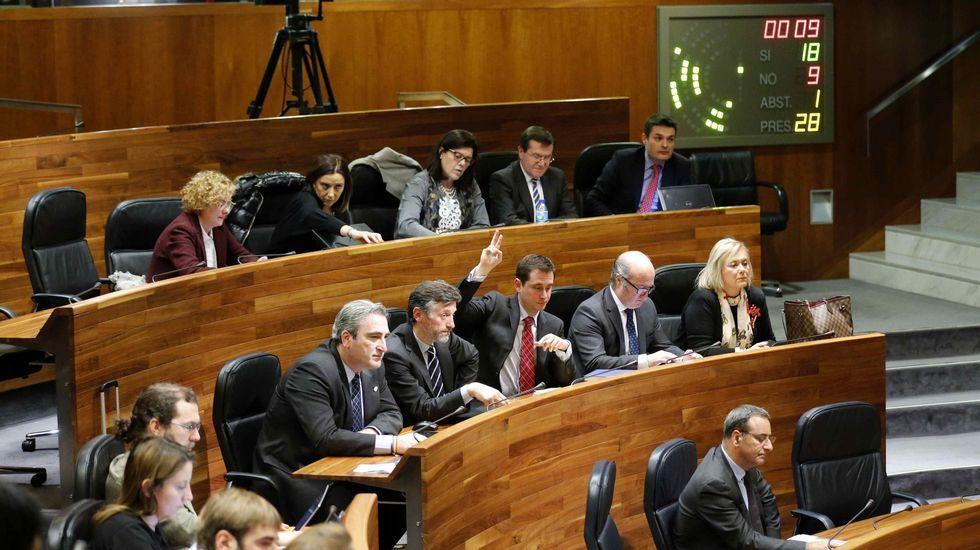.Una de las votaciones en el pleno de hoy de la Junta General del Principado