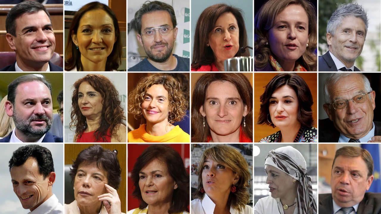 Las caras del equipo de Gobierno de Pedro Sánchez.León, Llamazares y Lastra