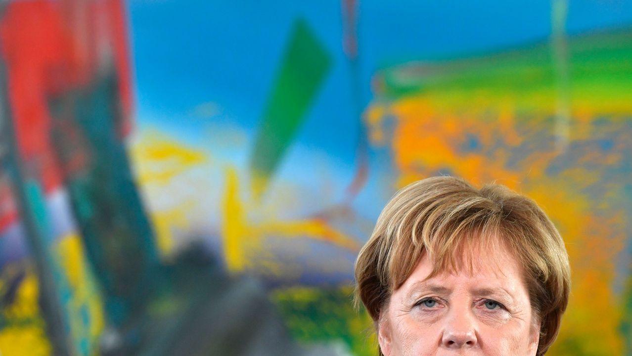 Angela Merkel, durante una rueda de prensa en Berlín