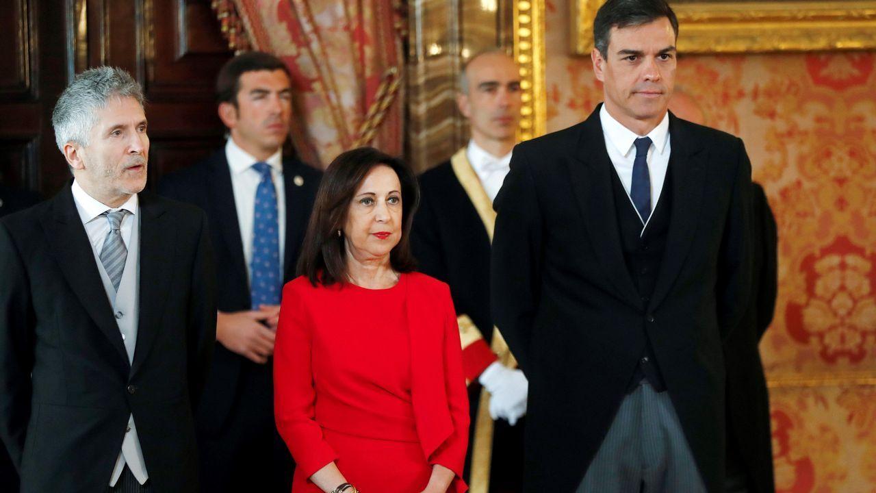 La ministra de Defensa Margarita Robles, el ministro del Interior Fernando Grande Marlaska, y el presidente del gobierno Pedro Sánchez, durante la celebración de la Pascua Militar