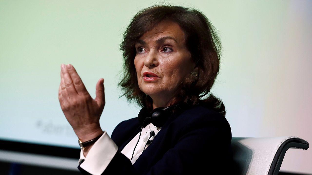 La vicepresidenta Carmen Calvo, en una jornada sobre justicia climática