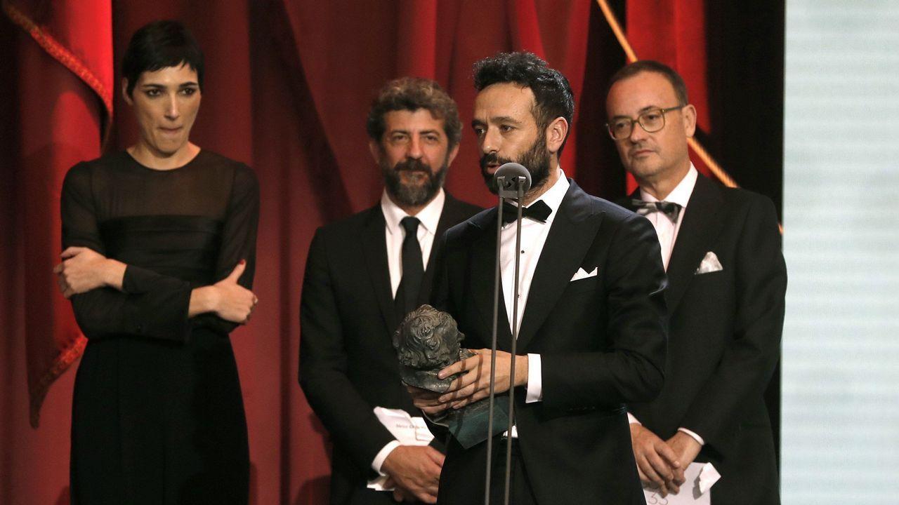El realizador Rodrigo Sorogoyen tras recibir el galardón a Mejor guión original