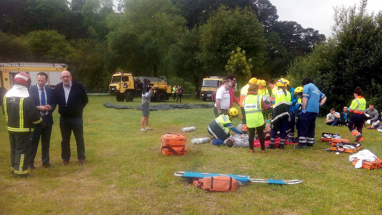 Escena de un simulacro organizado por el Servicio de Emergencias del Principado (Sepa) para mejorar su respuesta en caso de grandes accidentes