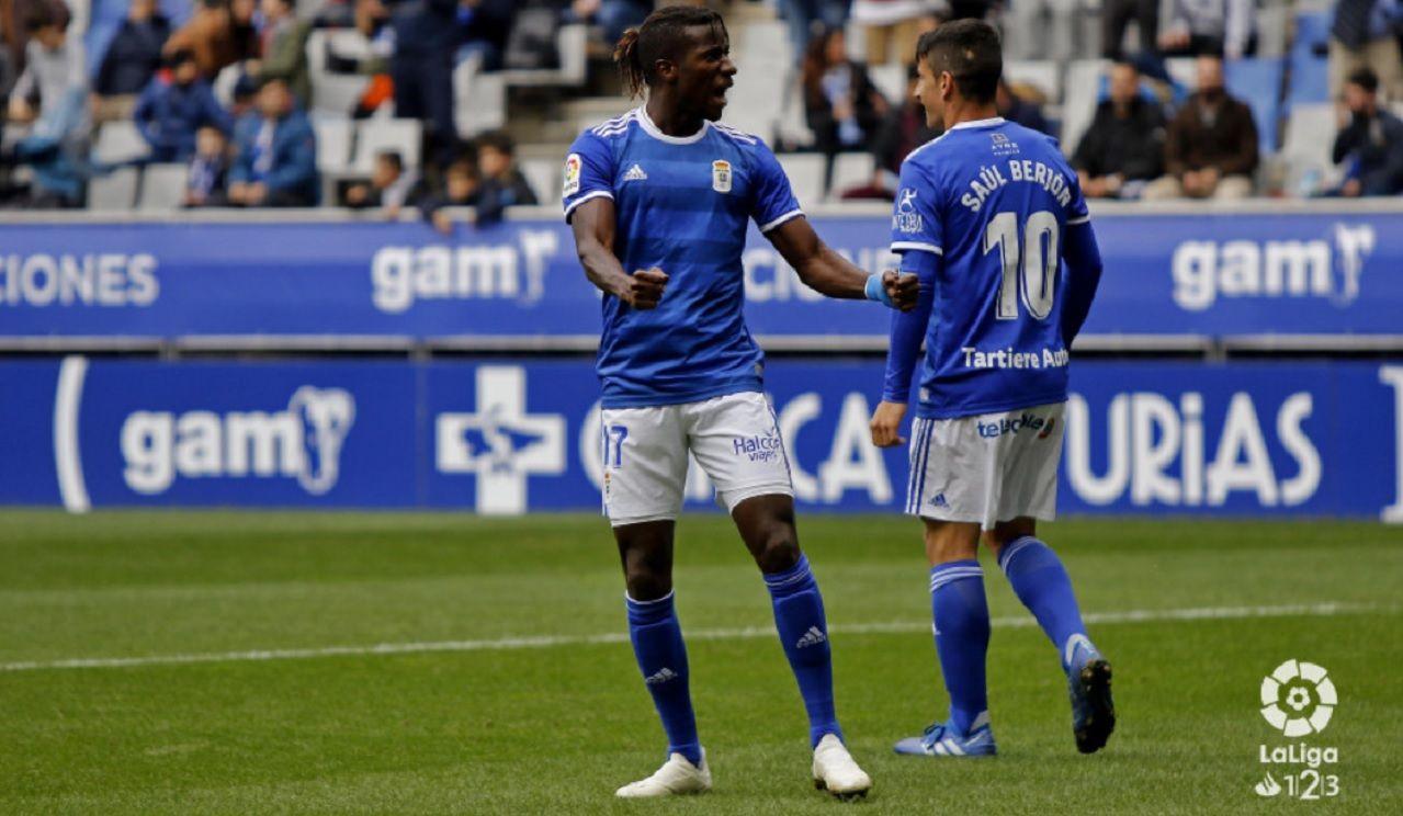 Gol Ibra Saul Berjon Real Oviedo Mallorca Carlos Tartiere.Ibra celebra el primer gol del encuentro ante el Mallorca