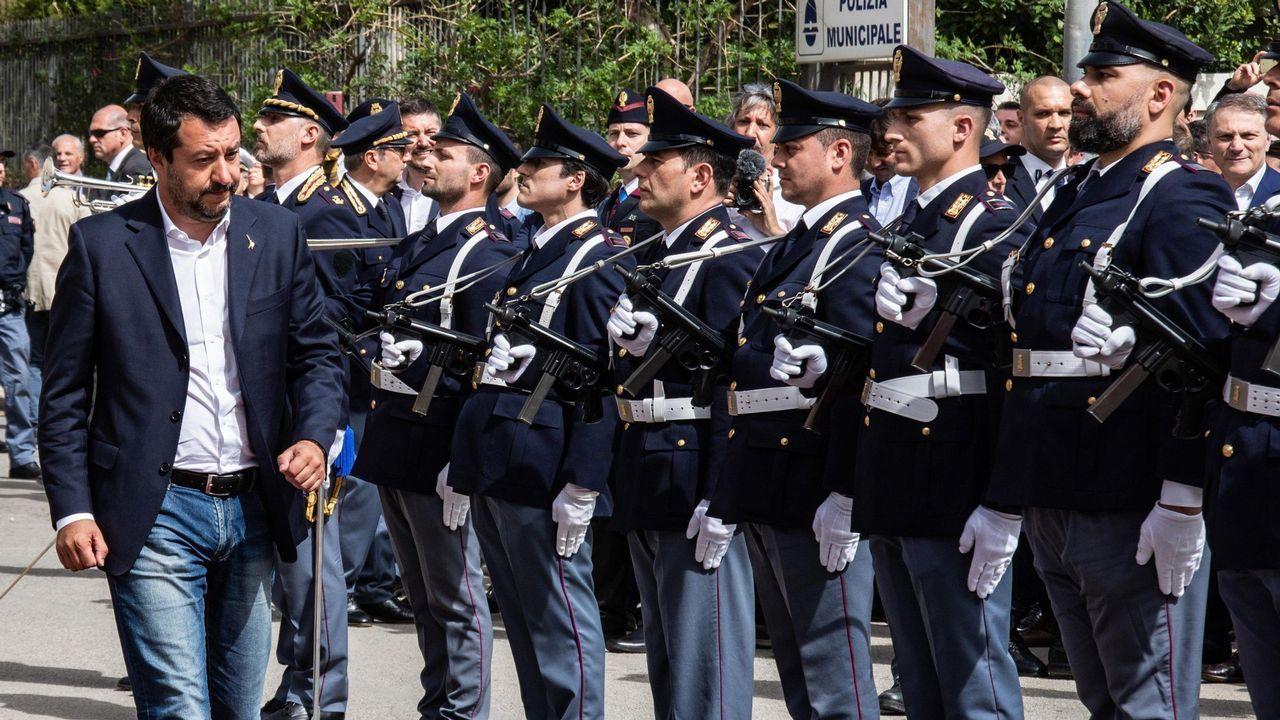 Salvini, en la nueva comisaría de Corleone