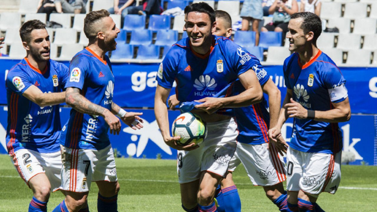 Gol Folch Aaron Johannesson Linares Real Oviedo Sevilla Atletico Carlos Tartiere.Ramon Folch celebra su tanto frente al Sevilla Atletico