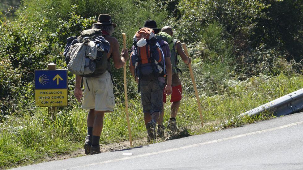 Sendero por el río Sarela y Camino de Fisterra.De izquierda a derecha, Gabín, Canosa, García y Mira, ayer en Radio Voz, con Verónica Couto.