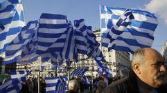 Manifestación en Atenas en apoyo al Gobierno de Tsipras