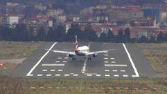 Así se aterriza de lado en Bilbao