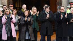 Multitudinario recorrido de Artur Mas, Irene Rigau y Joana Ortega hasta el TSJC