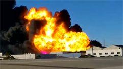 Impresionante incendio de una fábrica química en Valencia