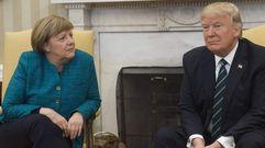 Trump rechaza dar la mano a Merkel ante los periodistas