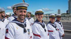 La dotación de la «Cristóbal Colón», una más el día de la Marina de Australia y Nueva Zelanda