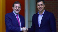 Distendido encuentro entre Rajoy y Sánchez en La Moncloa