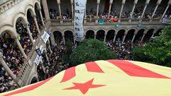 Concentraciones de los estudiantes en Barcelona en apoyo al referendo