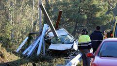 Espectacular accidente en la autovía do Salnés