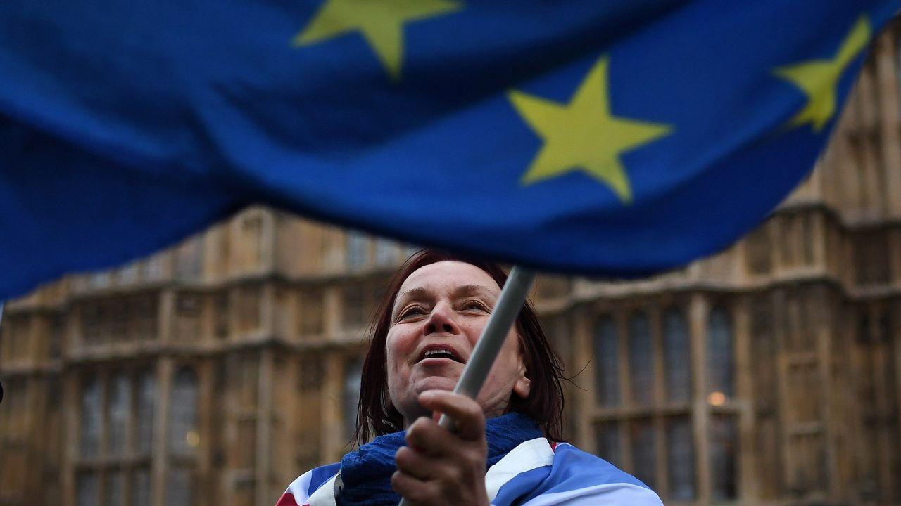 Una manifestante a favor de la permanencia en la Unión Europea ondea una bandera en el exterior del Parlamento británico