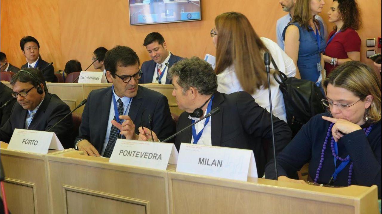 Lores, en el plenario de la OCDE en Atenas.Recuerdo de voto emigrante, en 2016