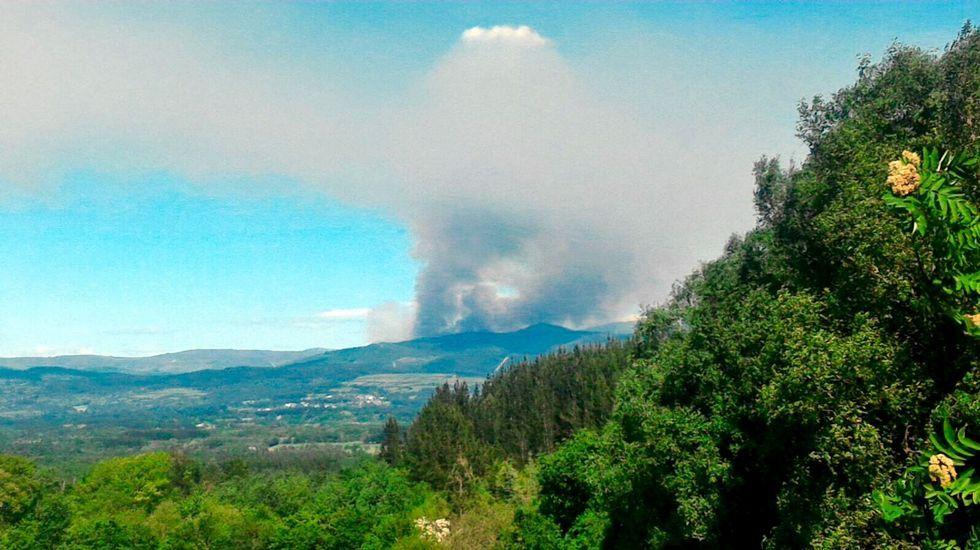El fuego quema en una tarde más de 50 hectáreas de monte en O Incio.Bomberos refrescando el incendio de Cotobade