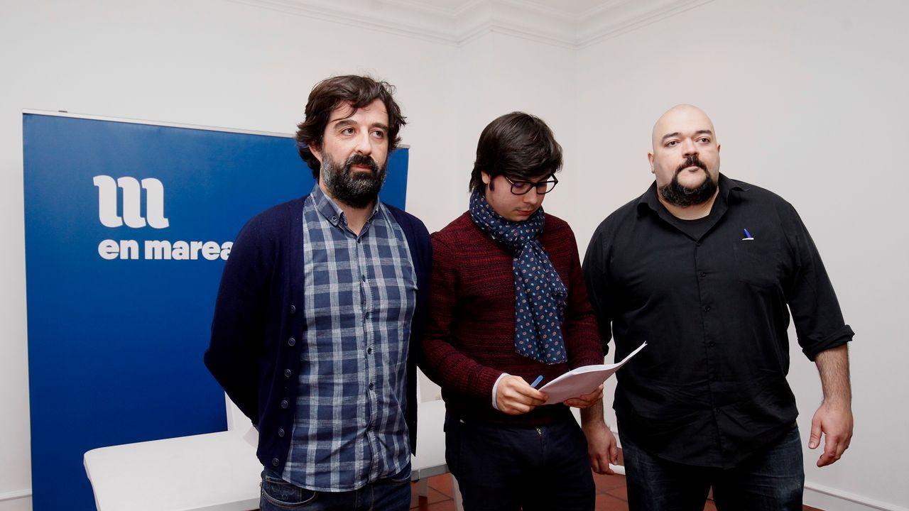 Chema García, Adrián Acción y Manuel Nogueira, miembros del comité de garantías que anunciaron la paralización de las elecciones