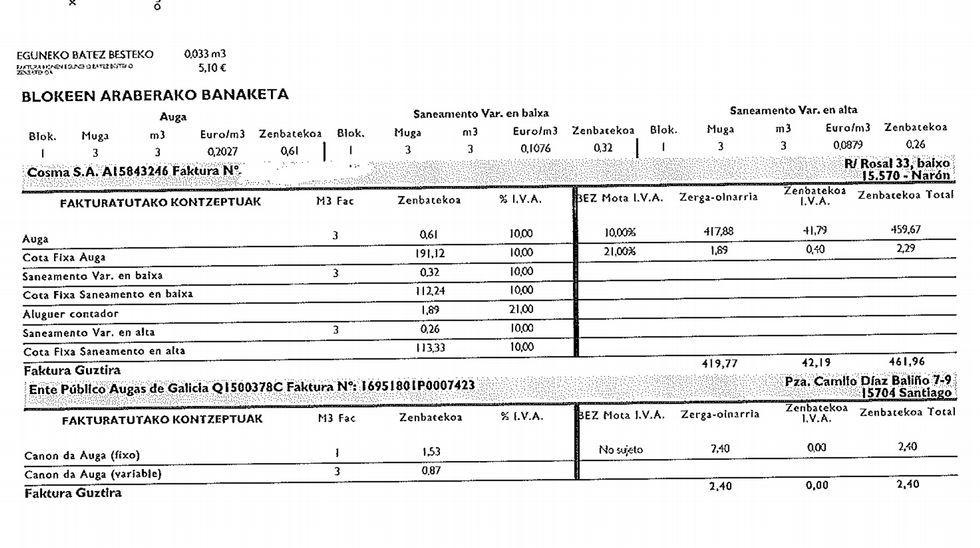 En la factura hay términos en vasco, castellano y gallego