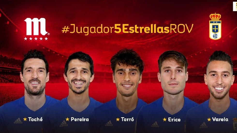 Nominados a Jugador 5 Estrellas del Oviedo en el mes de diciembre