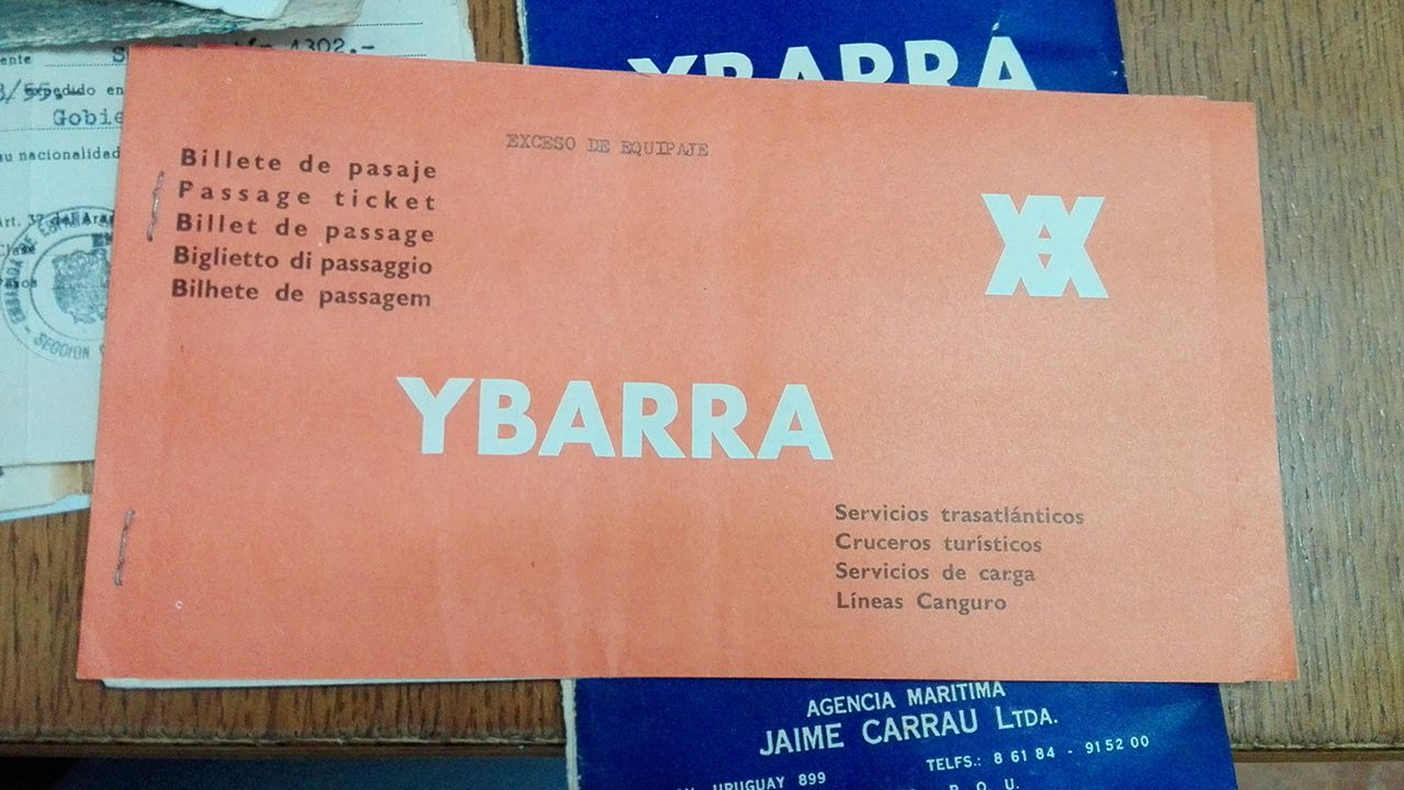 Billete de un crucero Montevideo-Vigo de la compañía Ybarra de 1974.