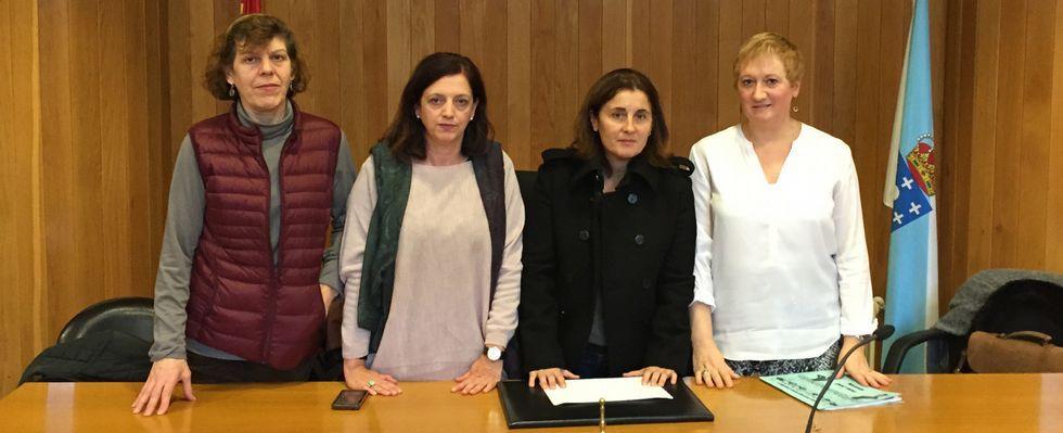 En la imagen, de izquierda a derecha, cuatro de las funcionarias del juzgado de violencia, Begoña, Emilia, Helen y Dulce.
