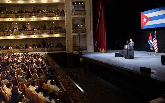 Bronca entre las juventudes del PP y PSOE por... ¡La guerra civil!.El presidente de EE.UU., Barak Obama, en el Centro Gallego en su reciente e histórica visita a Cuba