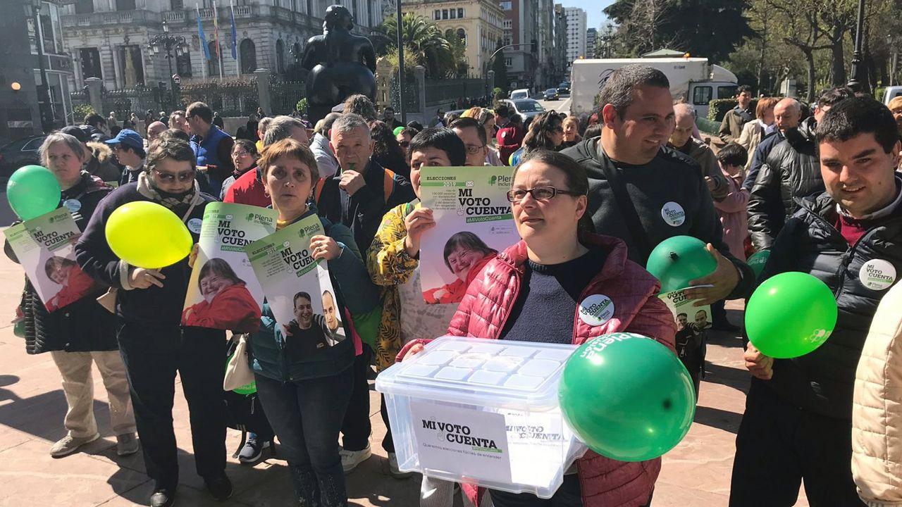 Mitin social de Plena Inclusión Asturias.Imagen de un Boeing 737 Max