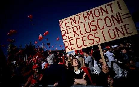 El mayor sindicato de Italia reunió a decenas de miles de personas ayer en Roma.