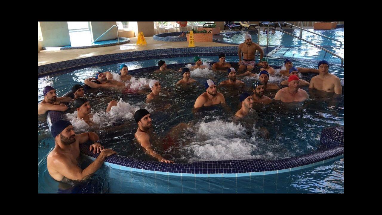 Varios jugadores del Vetusta durante un entrenamiento