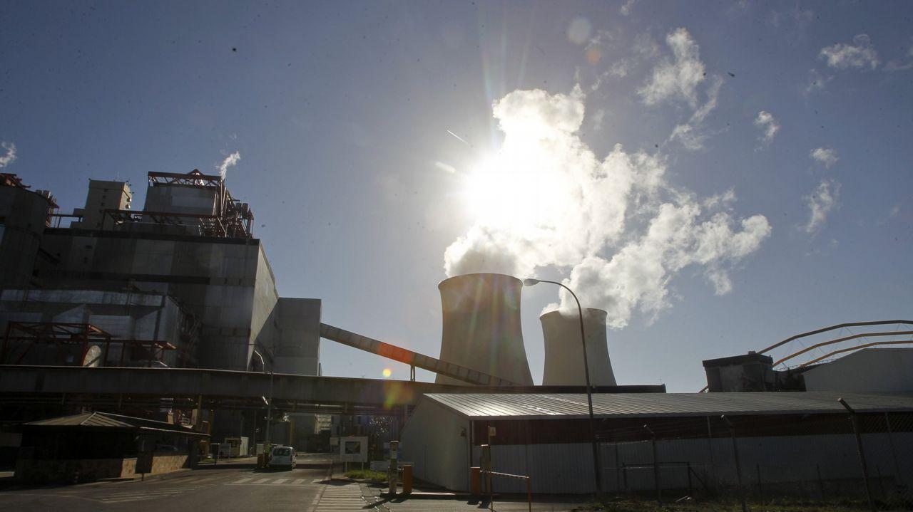 metal.Vista del parque de carbones de Aboño
