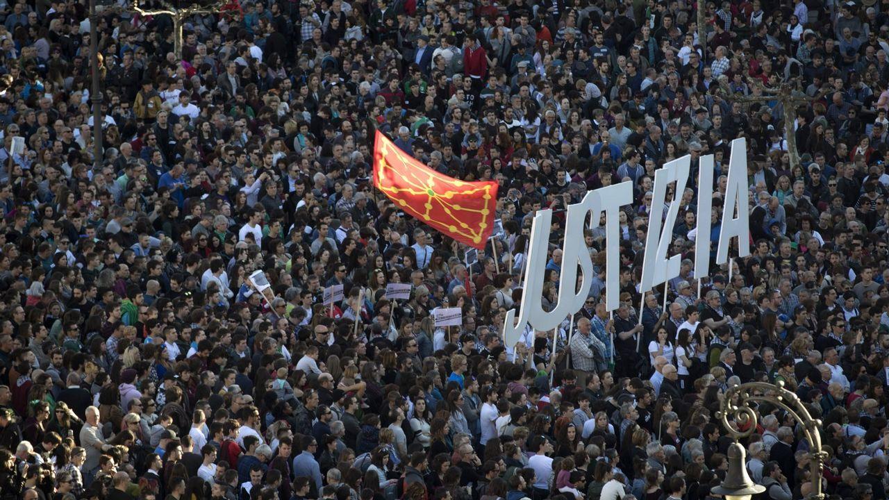 .Manifestación en Pamplona el pasado sábado pidiendo «justicia» para los ocho jóvenes de Alsasua