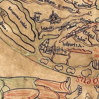 <span lang= es-es >La catedral de Santiago, en el mapamundi de Sawley.</span> El conocido como mapamundi de Sawley está fechado en 1190 y se cree que fue elaborado en la ciudad inglesa de Durham. Occidente está situado en la parte inferior del mapa, donde se encuentra Hispania y una monumental basílica, la más grande de Europa, identificada como «Galicia».