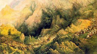 Fragmento de «Procesión en Covadonga», de Pérez Villaamil