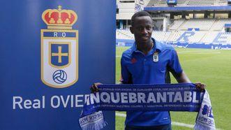Yeboah durante su presentacion en el Carlos Tartiere