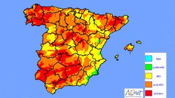 Mapa de niveles de riesgo de incendio