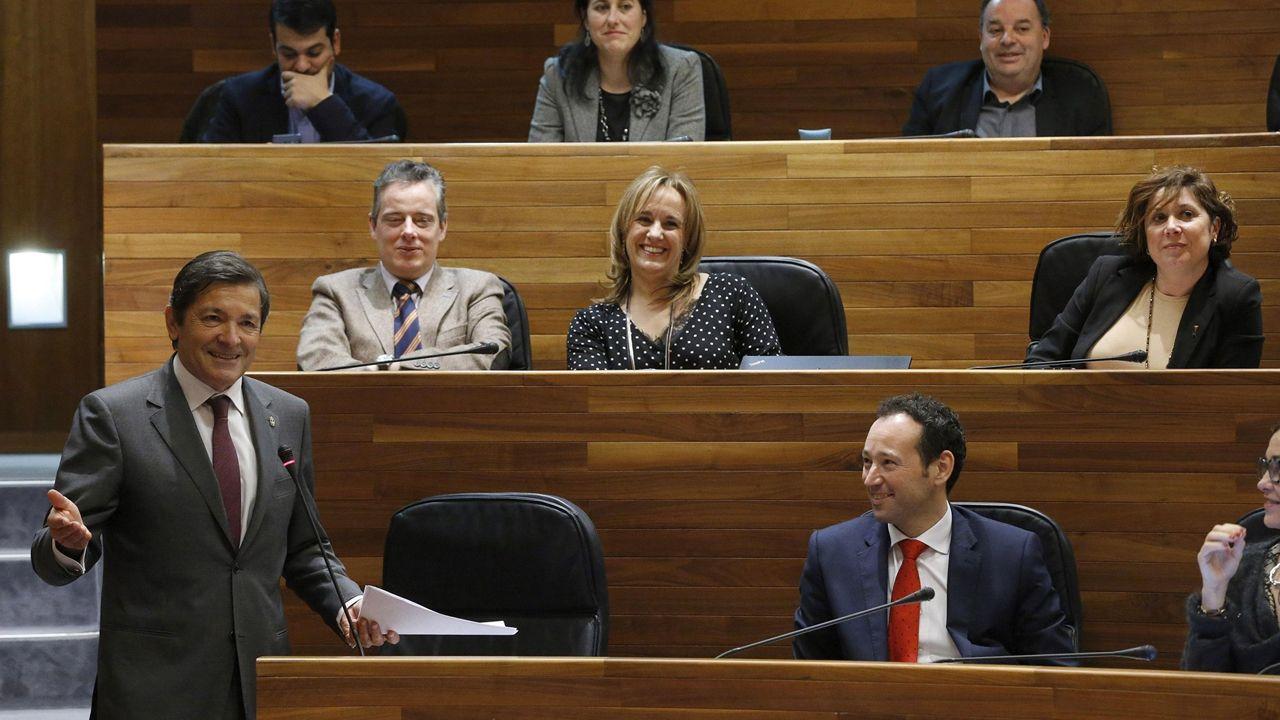 Concentración de auxiliares educativos y fisioterapeutas a la puerta de la Junta General.Javier Fernández, en la Junta. /ARMANDO ÁLVAREZ