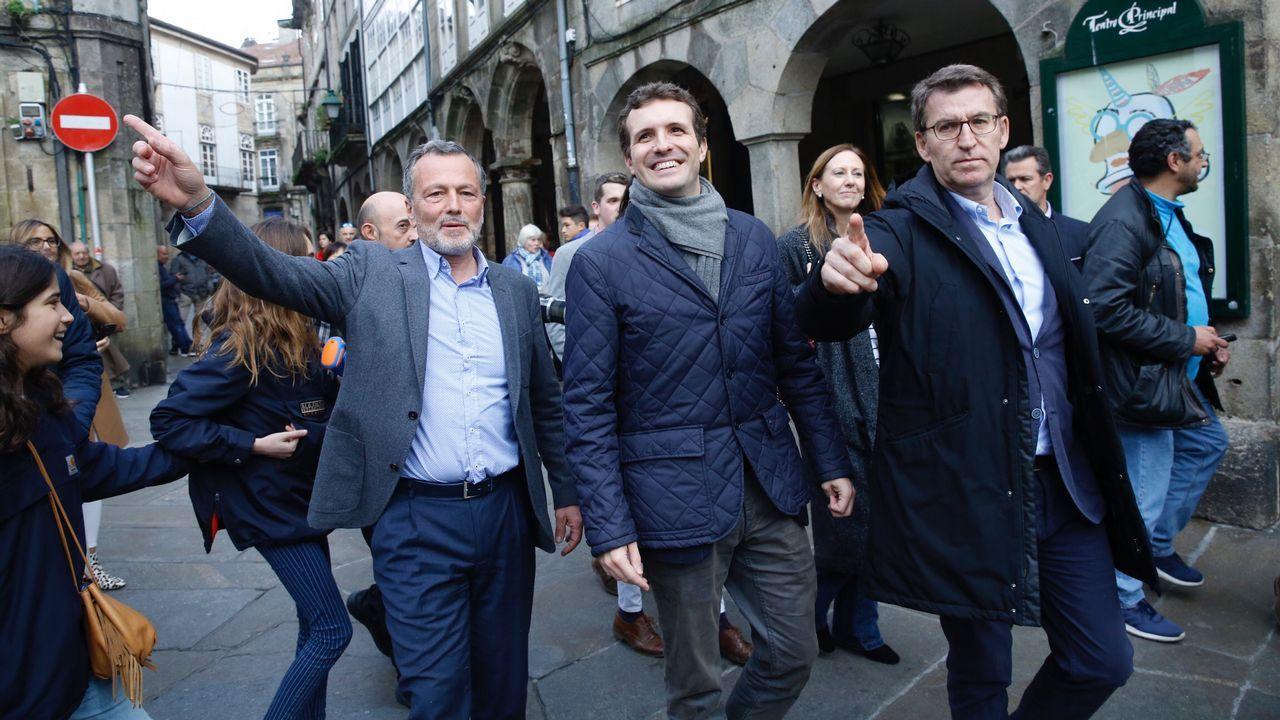 Carmen Santos, Antón Sánchez y Luís Villares, durante el último pleno del Parlamento de Galicia