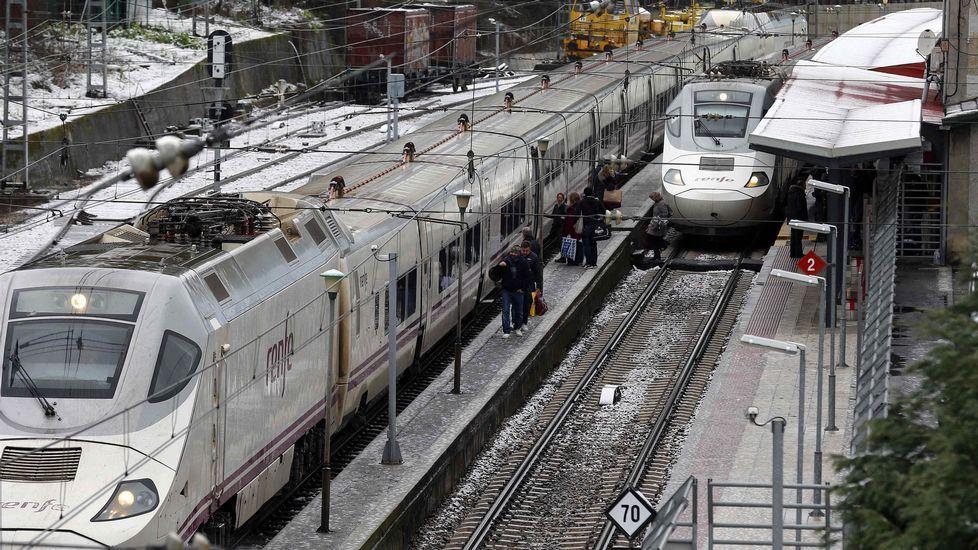 Trenes de Renfe estacionados en Pola de Lena. El temporal de nieve ha interrumpido esta mañana el tráfico ferroviario entre Asturias y León