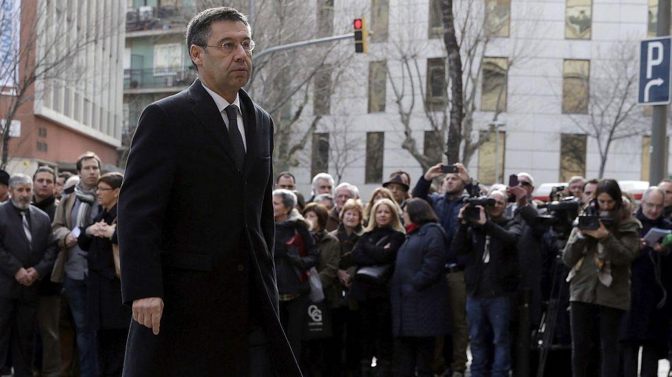 El presidente del FC Barcelona, Josep María Bartomeu, tras declarar ante la Audiencia Nacional.