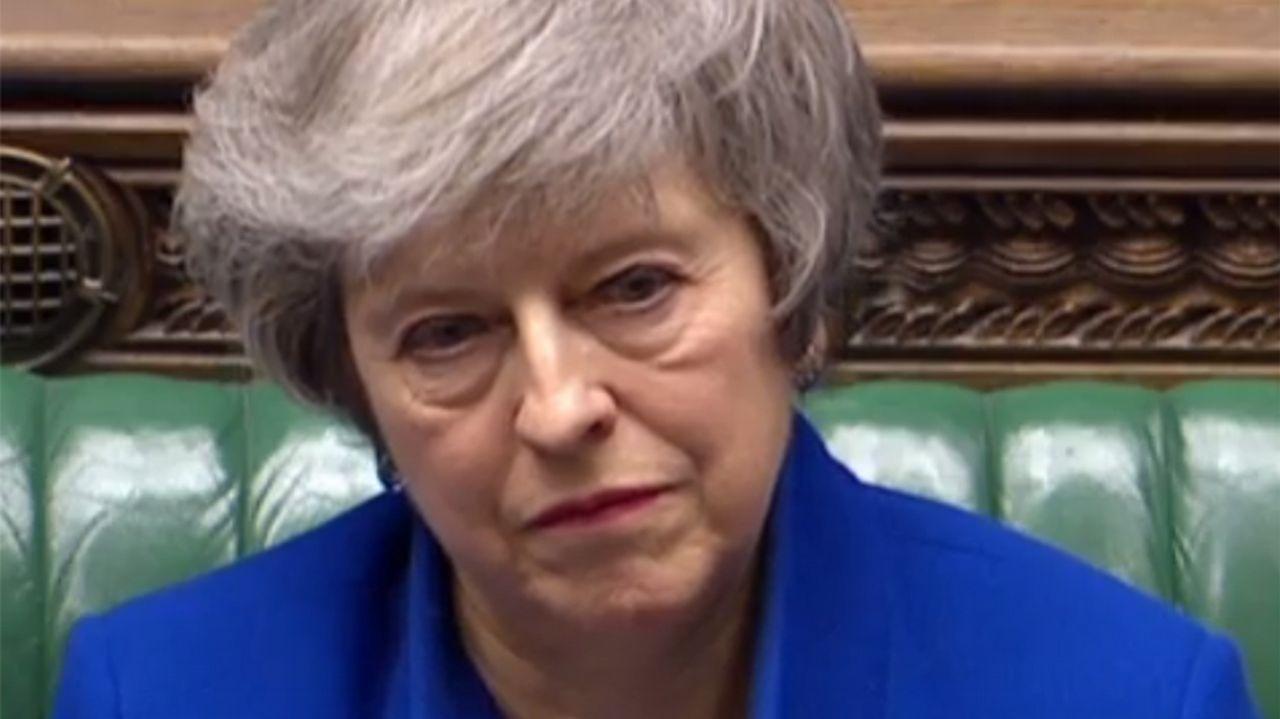May, esta mañana durante el debate sobre la moción de censura contra ella impulsada por Jeremy Corbyn.