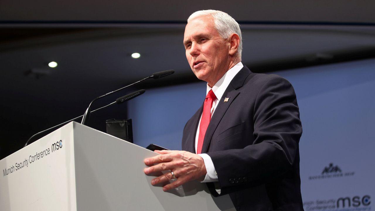 El vicepresidente norteamericano, Mike Pence, hoy en la Conferencia de Seguridad de Múnich (MSC)