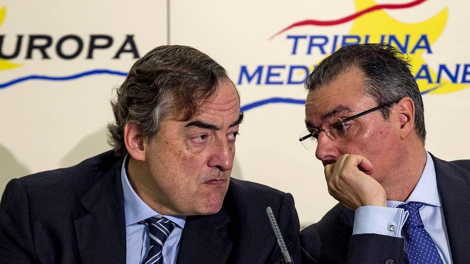 Último adiós a Adolfo Suárez.Juan Rosell con el presidente de la Confederación Empresarial Valenciana, Salvador Navarro