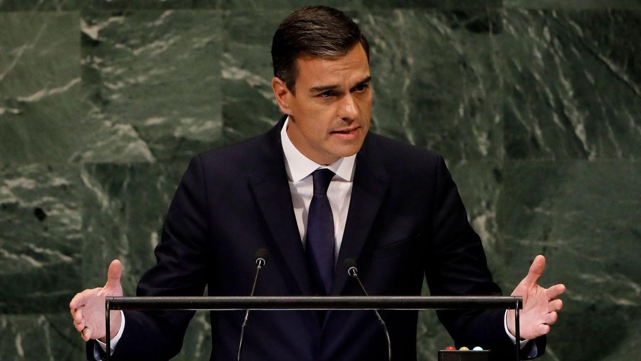 Pedro Sánchez durante su intervención en la Asamblea General de la ONU