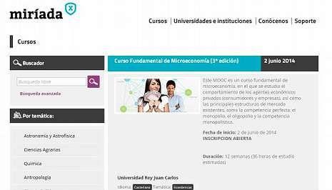 Una vida formándose.Imagen de la web miriadax.net, con 153 cursos gratuitos en línea.