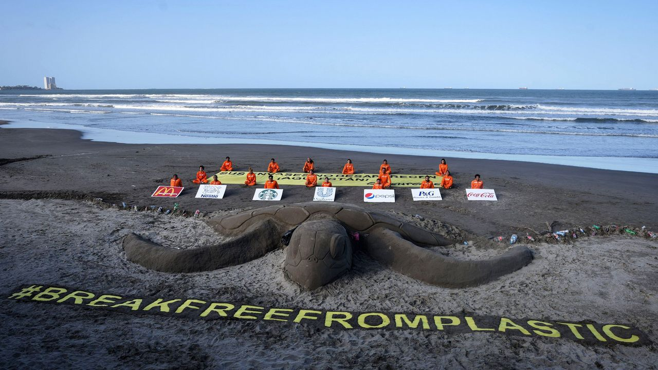 Activistas de Greenpeace en la playa de Boca del Río, en el estado mexicano de Veracruz