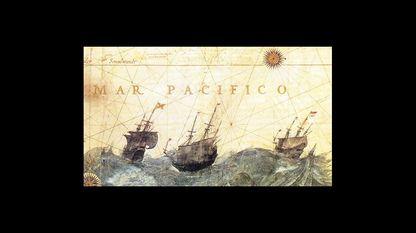 Imágenes de galeones en una tempestad, detalle de una carta náutica de Hessel Gerritsz (1622, Biblioteca Nacional, París)