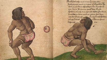 Jugadores aztecas practicando el «ullamaliztli». La ilustración es de Christoph Weiditz y corresponde a dos páginas del «Trachtenbuch», o «Libro de tradiciones» (c. 1530), que conserva el Germanisches Nationalmuseum de Núremberg. Poco después de la conquista de Tenochtitlan, Cortés envió a España a varios de esos jugadores de pelota, que realizaron una exhibición ante Carlos I en Toledo en 1528. Weiditz dejó testimonio de ello